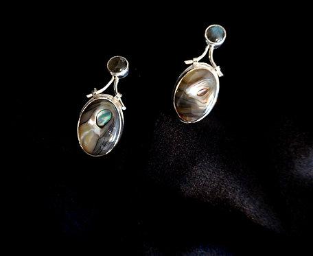 Sterling Silver, Labradorite & Abalone Earrings