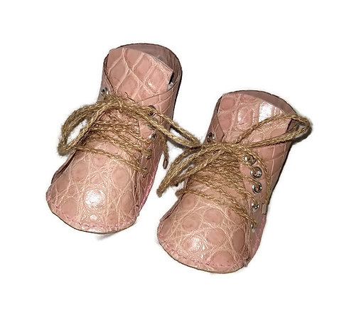 Handmade Pink Leather Alligator Baby Booties