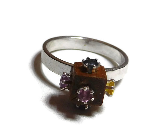 Wood & Sapphire Cube Sterling Silver Ring