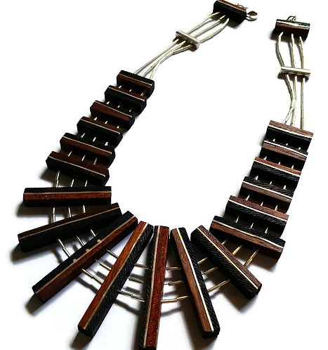 Sterling Silver & Wood Parquet Collar Necklace