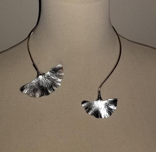 Sterling Silver Hand Made Ginkgo Leaf Necklace