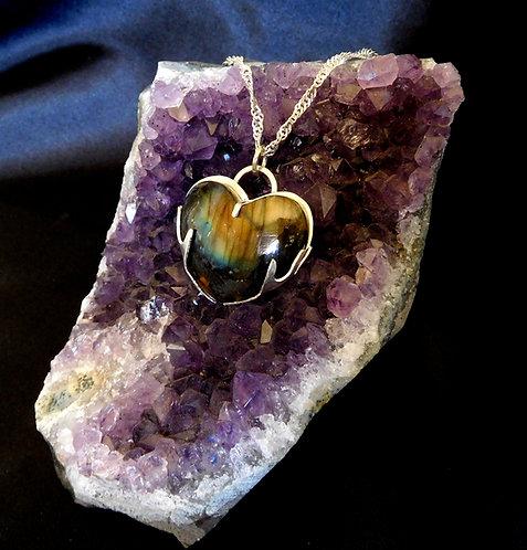 Sterling Silver & Labradorite Heart Pendant