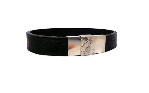 Men's Alligator Leather and Sterling Silver Bracelet