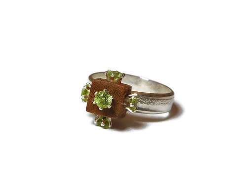 Peridot Cubed Sterling Silver Ring