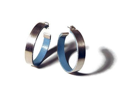 Sterling Silver and Leather Hoop Earrings