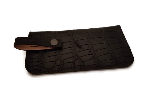 Black Alligator Leather eyeglass case with belt snap