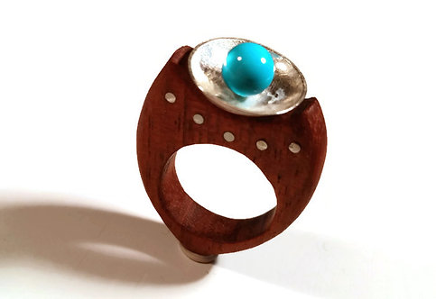Sterling Silver, Turquoise & Wood Dome Ring