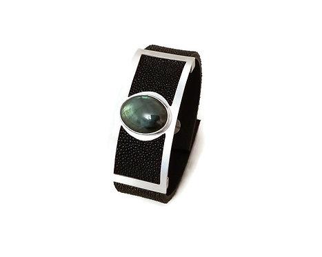 Stingray, Sterling Silver & Labradorite Leather Bracelet