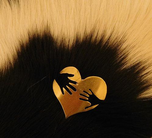 Brass Heart Brooch