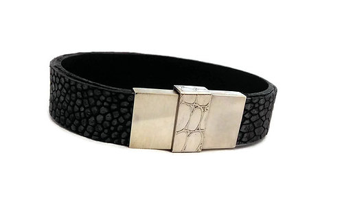 Men's Ostrich Skin Leather and Sterling Silver Bracelet