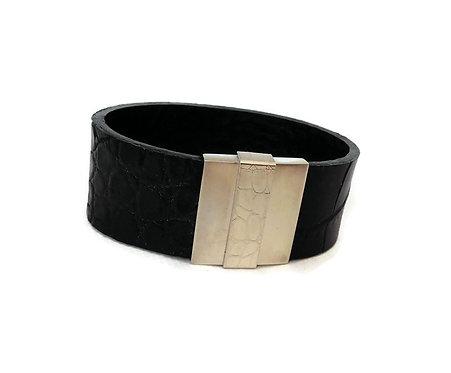 Black Alligator Skin & Sterling SiIver Cuff Bracelet