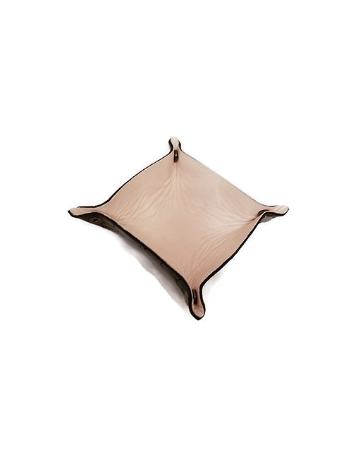 Leather valet tray handmade with two toned leather