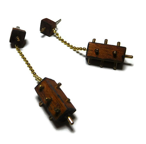 Gold-filled & Wood Spiked Earrings