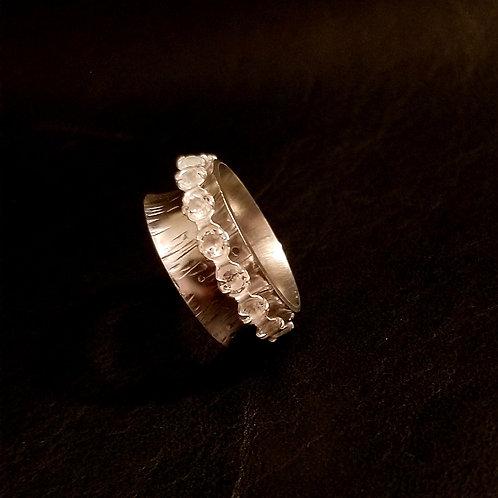 Sterling Silver & White Topaz Spinner Ring