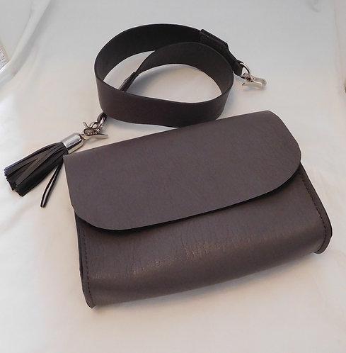 Handmade Grey Leather Belt Bag Purse