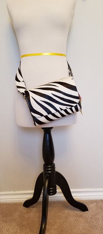 Hair On Cowhide Zebra Pattern Belt Bag