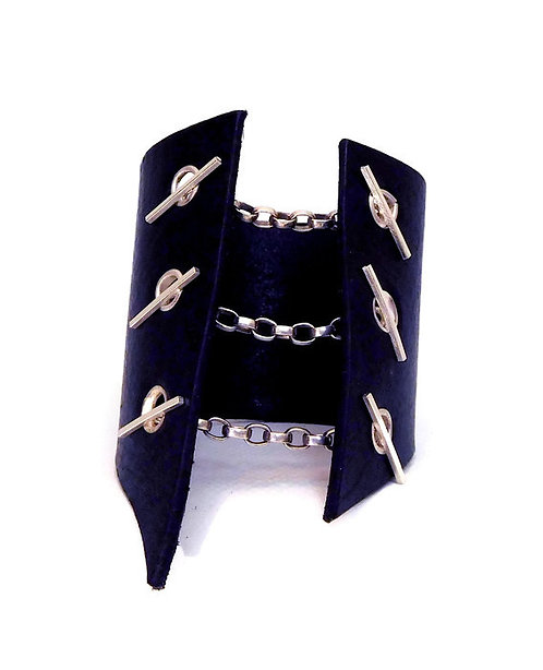 Black Leather Corset Bracelet