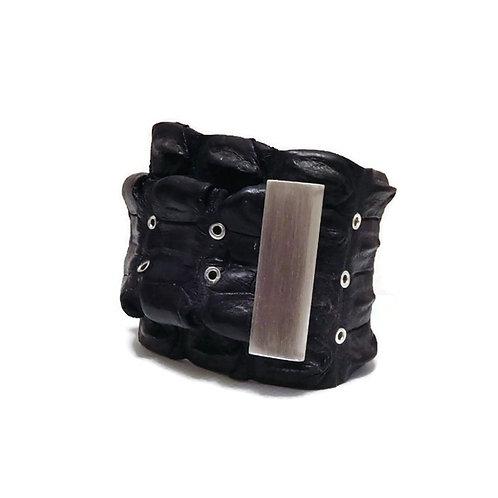 Black Croc and Sterling Silver Bracelet