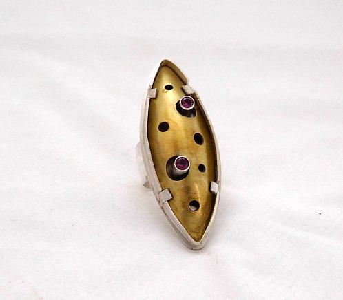 Sterling Silver, Brass & Garnet Tube Set Ring