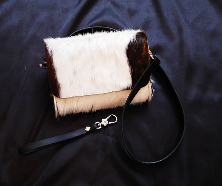Mini Hair On Hand Stitched Genuine Leather Belt Bag Purse Wristlet