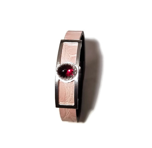 Pink Alligator Leather, Sterling Silver and Garnet Bracelet