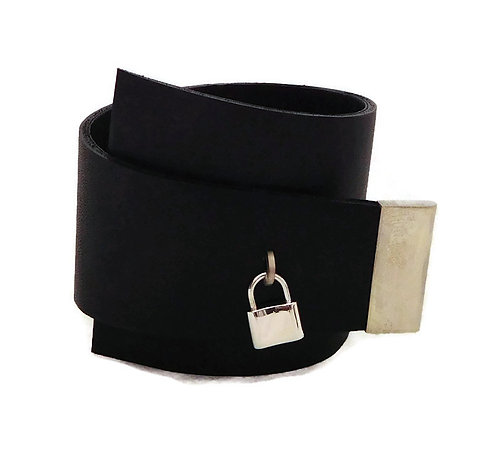 Sterling Silver & Black Leather Wrap Bracelet