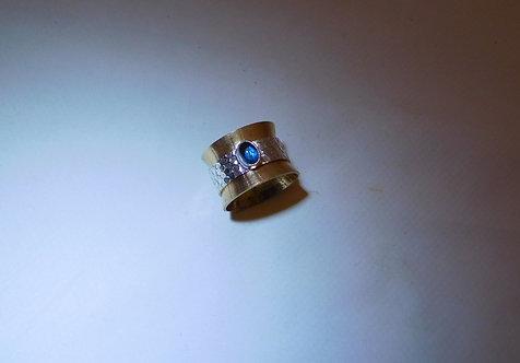 Sterling Silver, Brass & Blue Topaz Spinner Ring