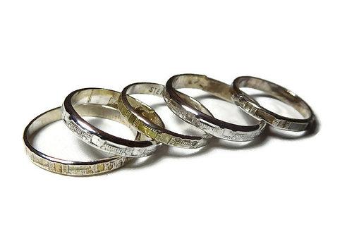 Sterling silver  Midi 5 stack ring set