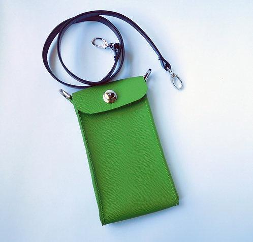 Kiwi Green Leather Calfskin Phone Case Crossbody Purse