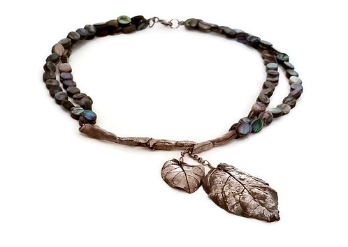 Sterling Silver Real Leaf & Abalone Necklace