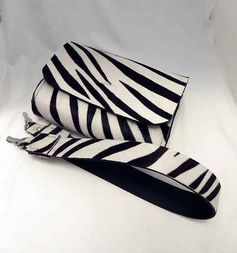 Zebra Belt Bag hair on cowhide