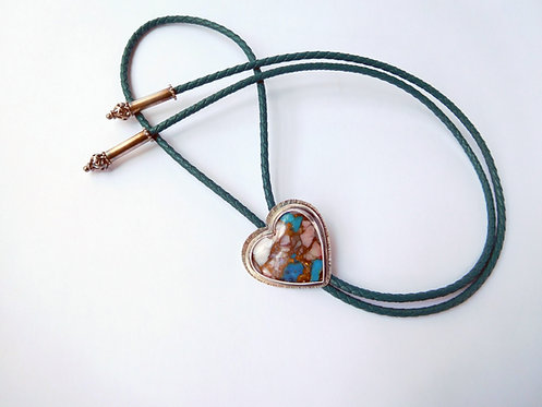 Sterling Silver Turquoise Heart Leather Bolo Tie