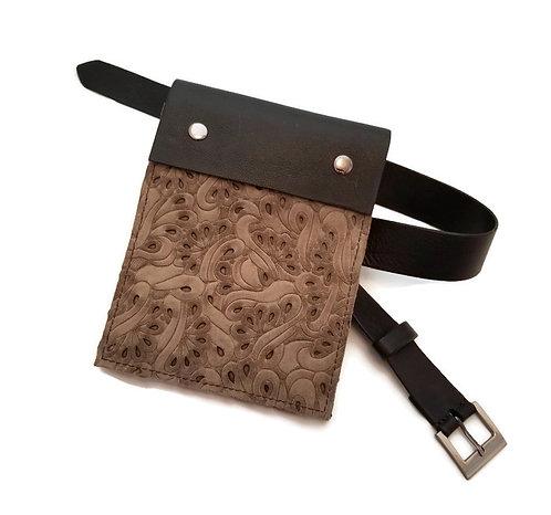 Black Leather and Suede Belt Bag