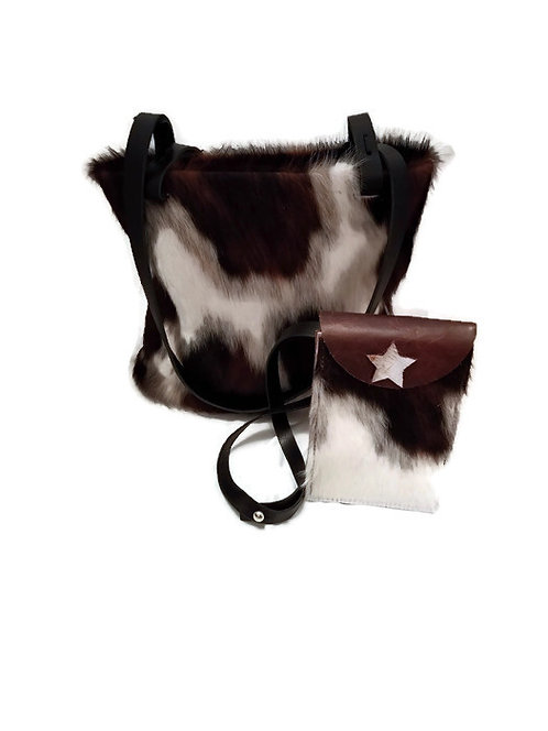 Hair On Cowhide Leather Purse and Waist Bag