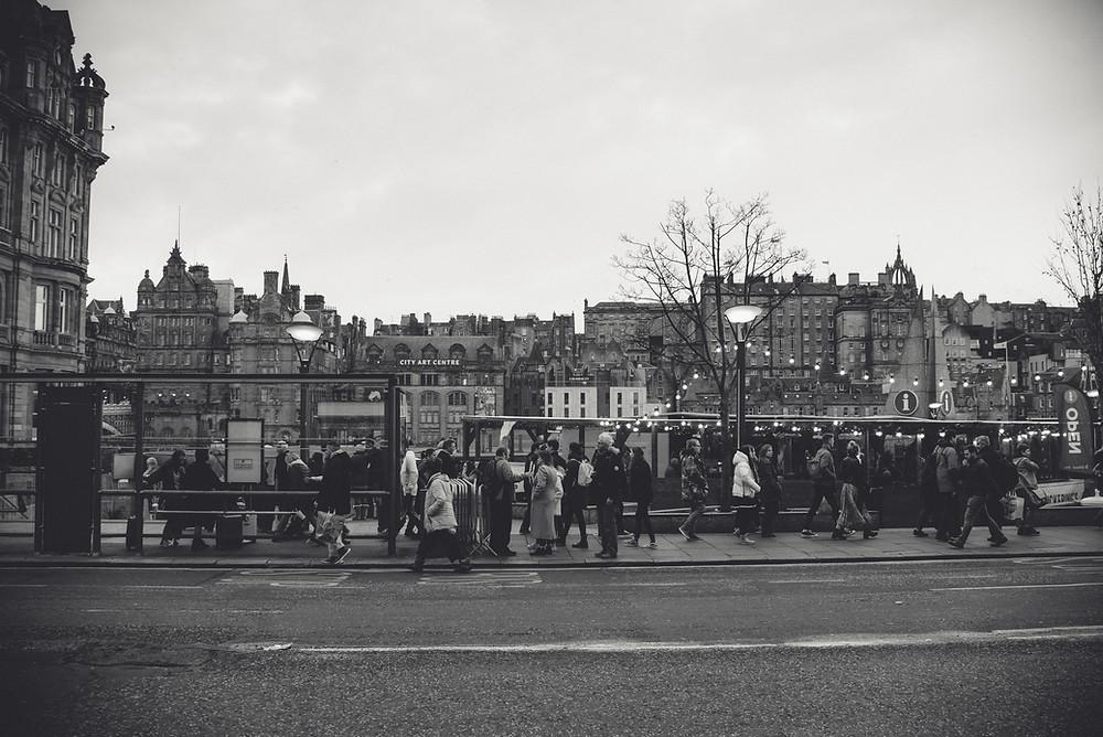 Edinburgh, Christmas, Scotland, Bus stop