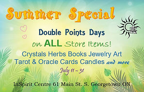 An advertisement explaining when Double Points Days are. The Double Points apply to Crystals, Salt Lamps, Tarot cards and more.