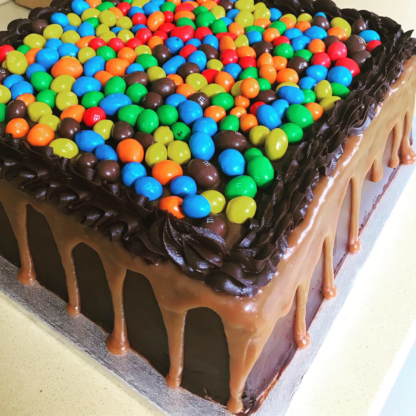 Square Chocolate M&M Cake