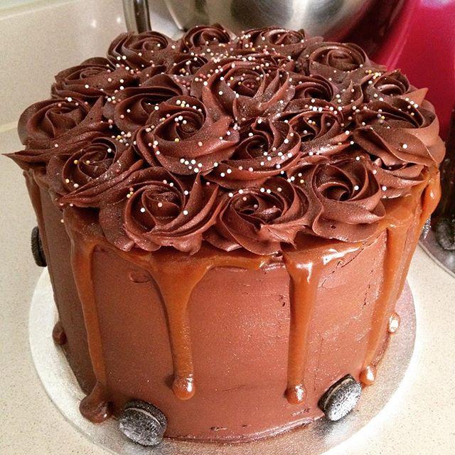 Chocolate Rosettes Caramel Drip Cake