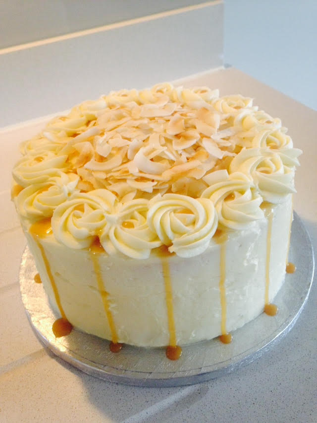 Coconut Caramel Drip Cake