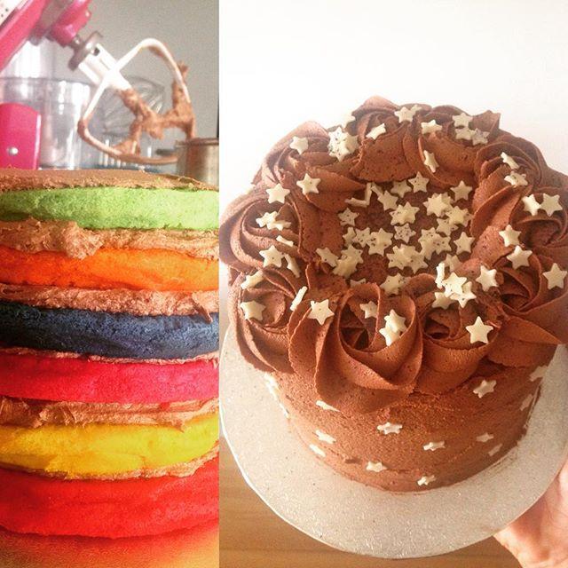 Rainbow Chocolate Stars Cake