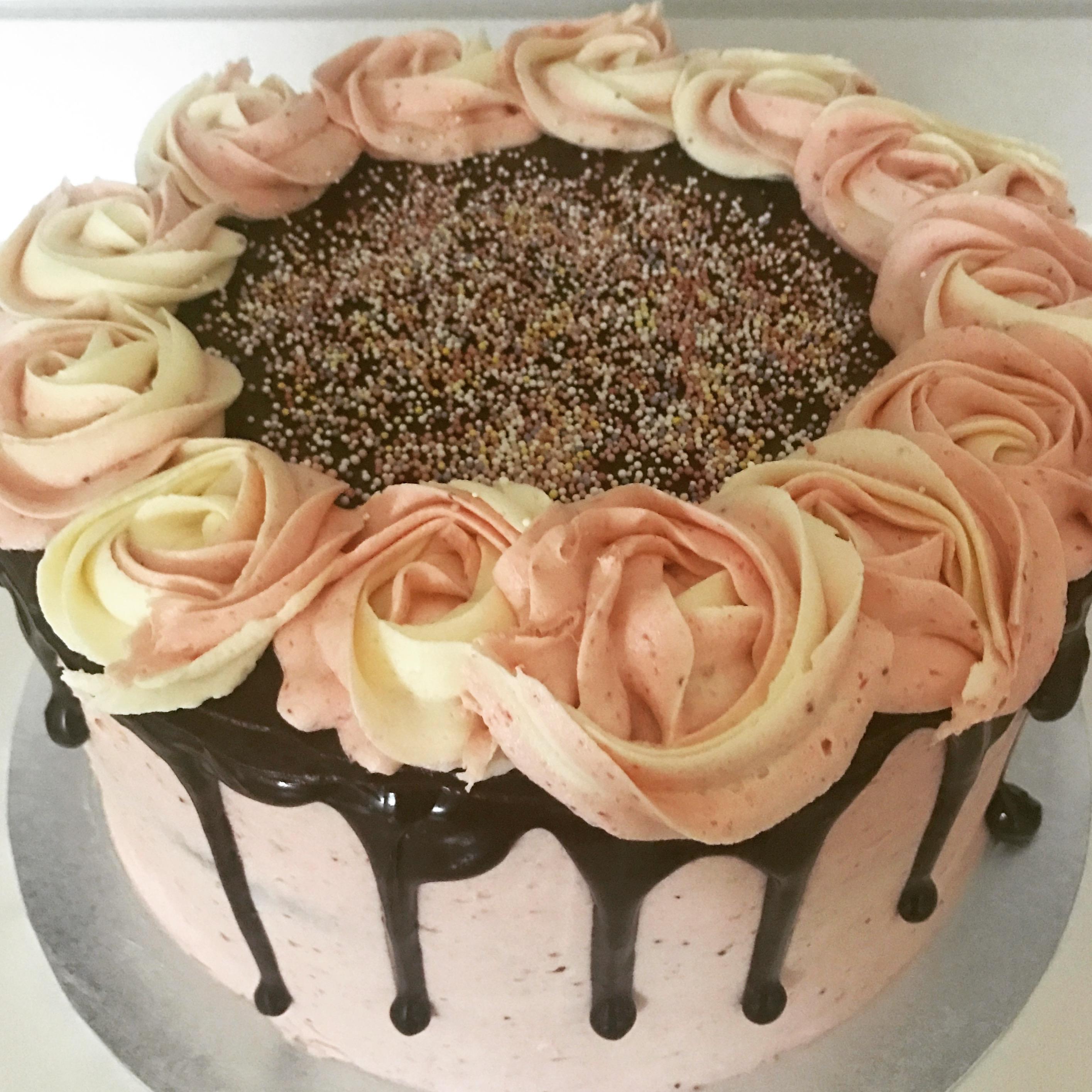 Vanilla/Strawberry Rose Crown Cake