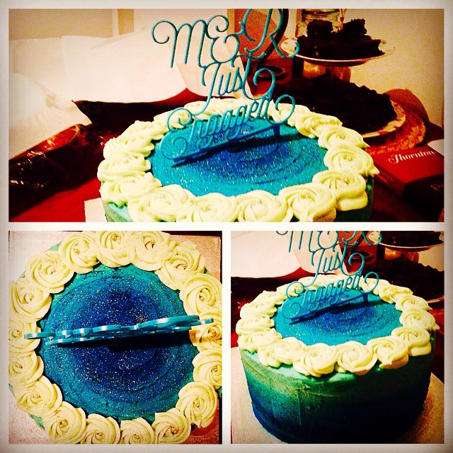 Blue Ombre with Rosette Crown Cake