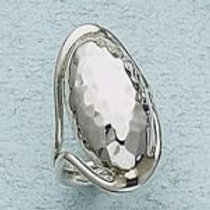 JR08- Hammered Dome Ring In .925 Sterling