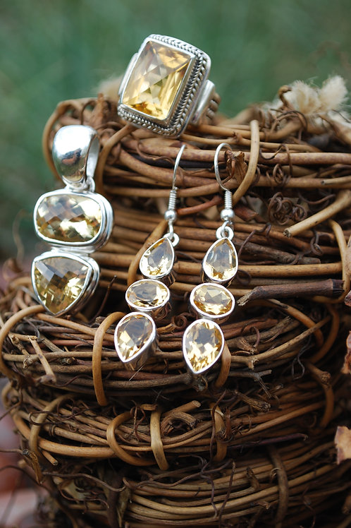 IE14 - Citrine Earrings in .925 Sterling