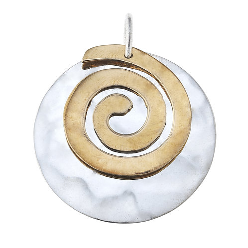 .925 Sterling silver and Brass Swirl Pendant