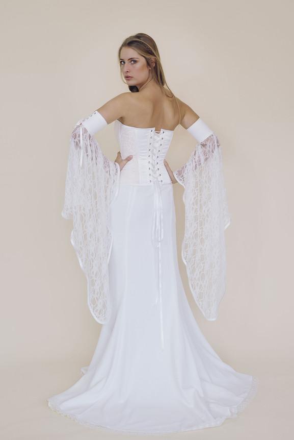 Corset Gypsy sur jupe Diane avec manches elfiques-fairy trees-kryzalidea couture-dos