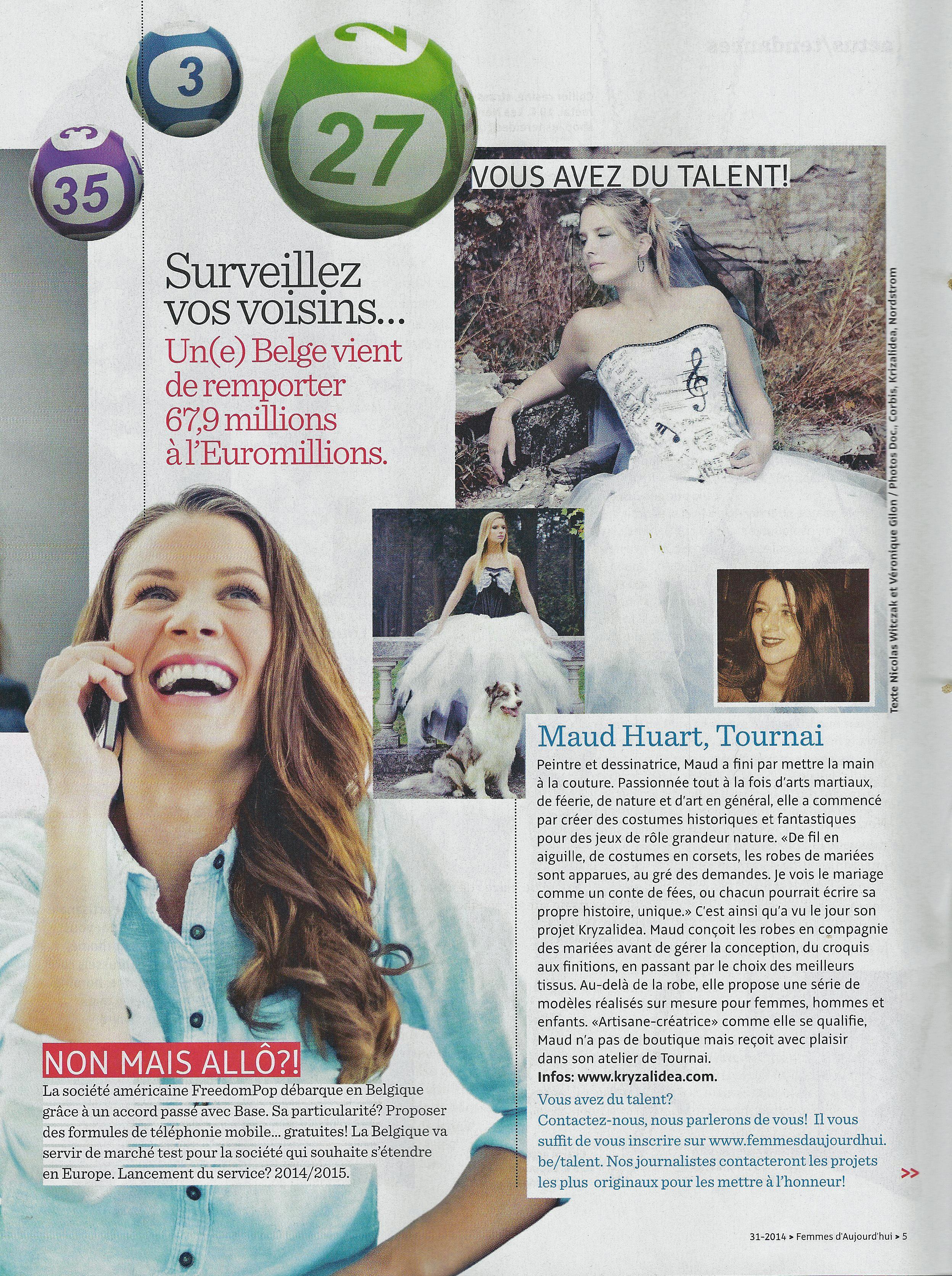 article femme aujourd'hui kryzalidea 30-07-2014