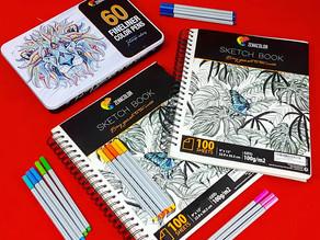 Zenacolor Sketch Pads & Fine Liner Color Pens