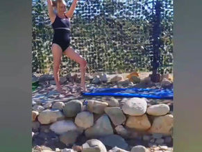 Namaste. . a little gymnastics and a little yoga is the best way to start the day. ☮️ .