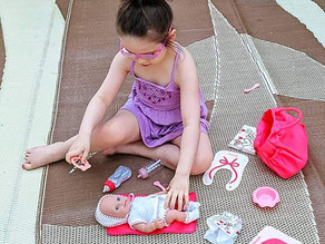🚼 Zelah has been playing with her new gifted baby doll and diaper bag accessories set all day.